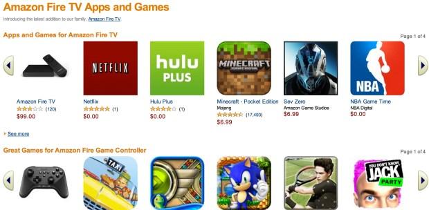 amazon firetv app store