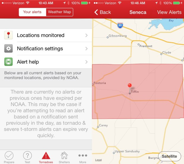 Use this app to get iPhone tornado warnings at multiple locations you pick.