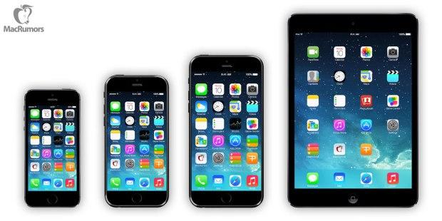 iPhone 5s vs. iPhone 6 concept vs. iPhone 6 concept vs. iPad mini.