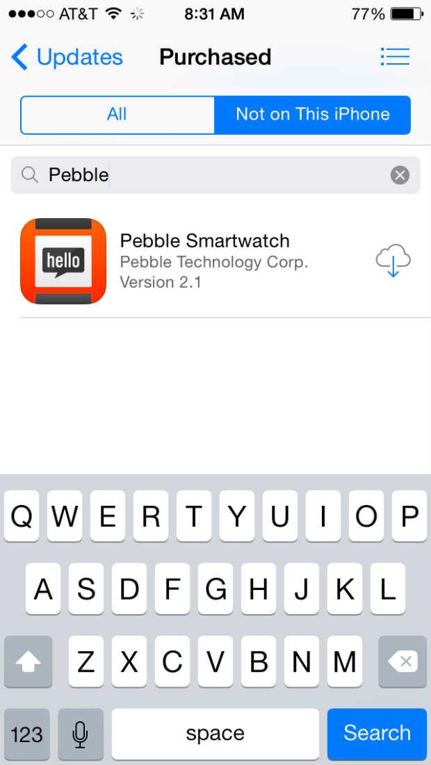 pebble in itunes app store