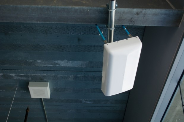 Over 200 antenna, similar to this one, cover specific areas of the grandstands and inside areas as well.