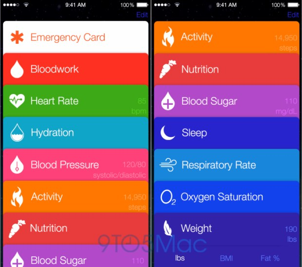This mockup shows what iOS 8 app Healthbook could look like.