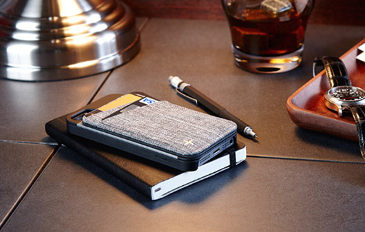 This case includes a slim wallet that attaches to the iPhone and works alone as well.