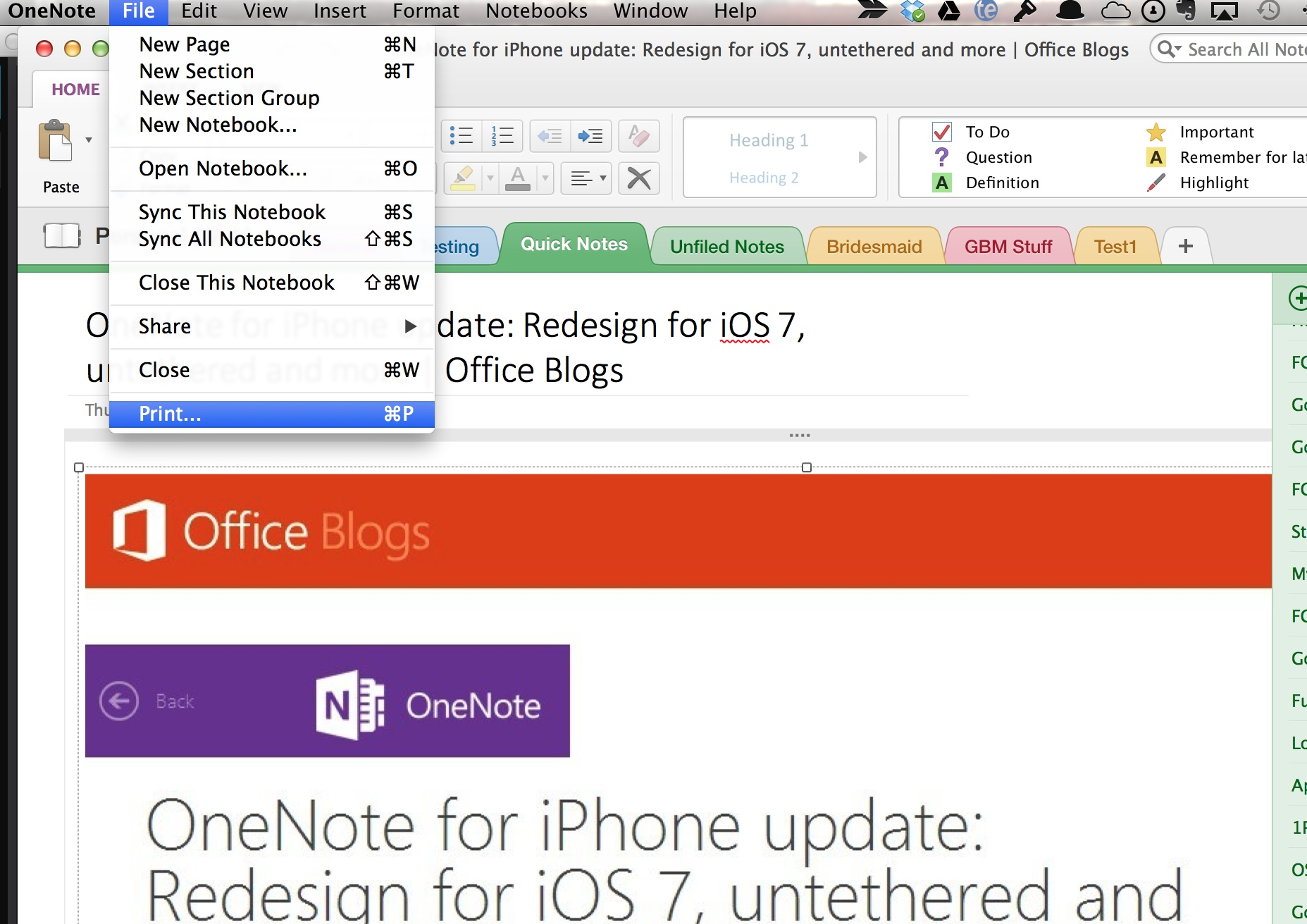 Microsoft Updates OneNote for iPhone and Mac