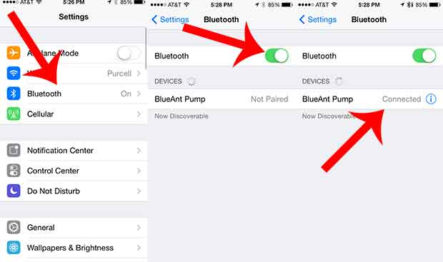 turning on bluetooth on an iphone