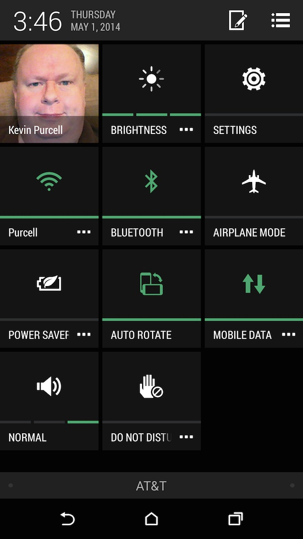 htc one m8 quick settings screen