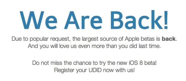 Register to be ready for the iOS 8 beta and iOS 8 beta downloads.