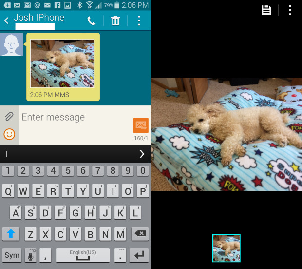 With a few taps you can save a photo from Messages on the Galaxy S5.