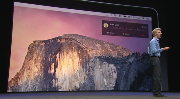 Take a phone call on your Mac using the iPhone.