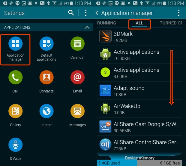 Find the Application Manager to Turn off S Voice on the Galaxy S5.