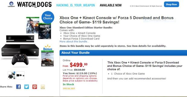 Walmart Xbox One + games Bundle