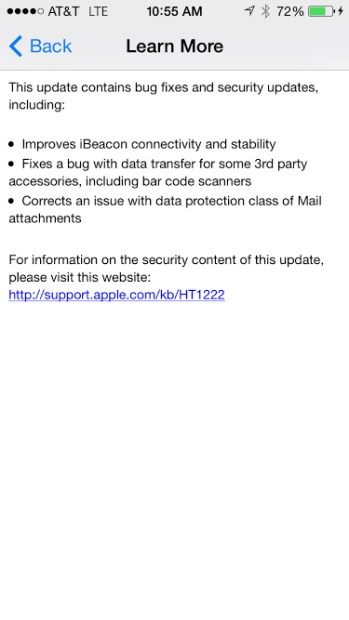 Apple's new iOS 7.1 update fixes bugs and doesn't appear to bring hero level issues of its own.
