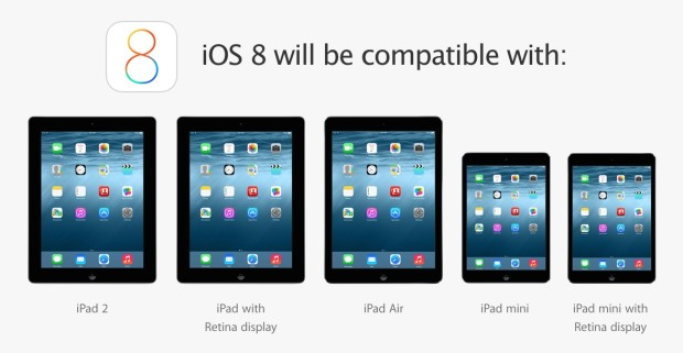 Apple offers iOS 8 for iPad on the iPad 2 and newer.