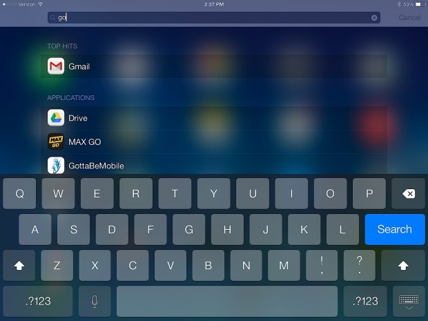 Use spotlight to search the iPad quickly.