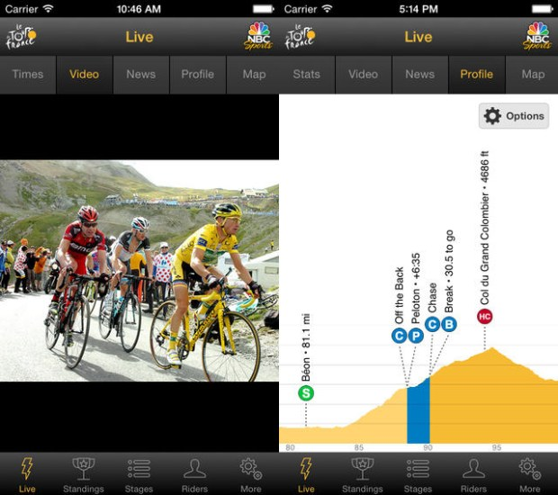 Watch the Tour de France live on iPhone and Android.