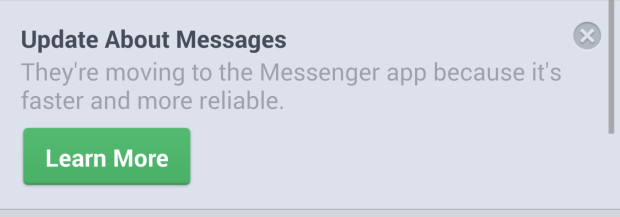 Facebook is moving everyone over to the Facebook Messenger app starting today.