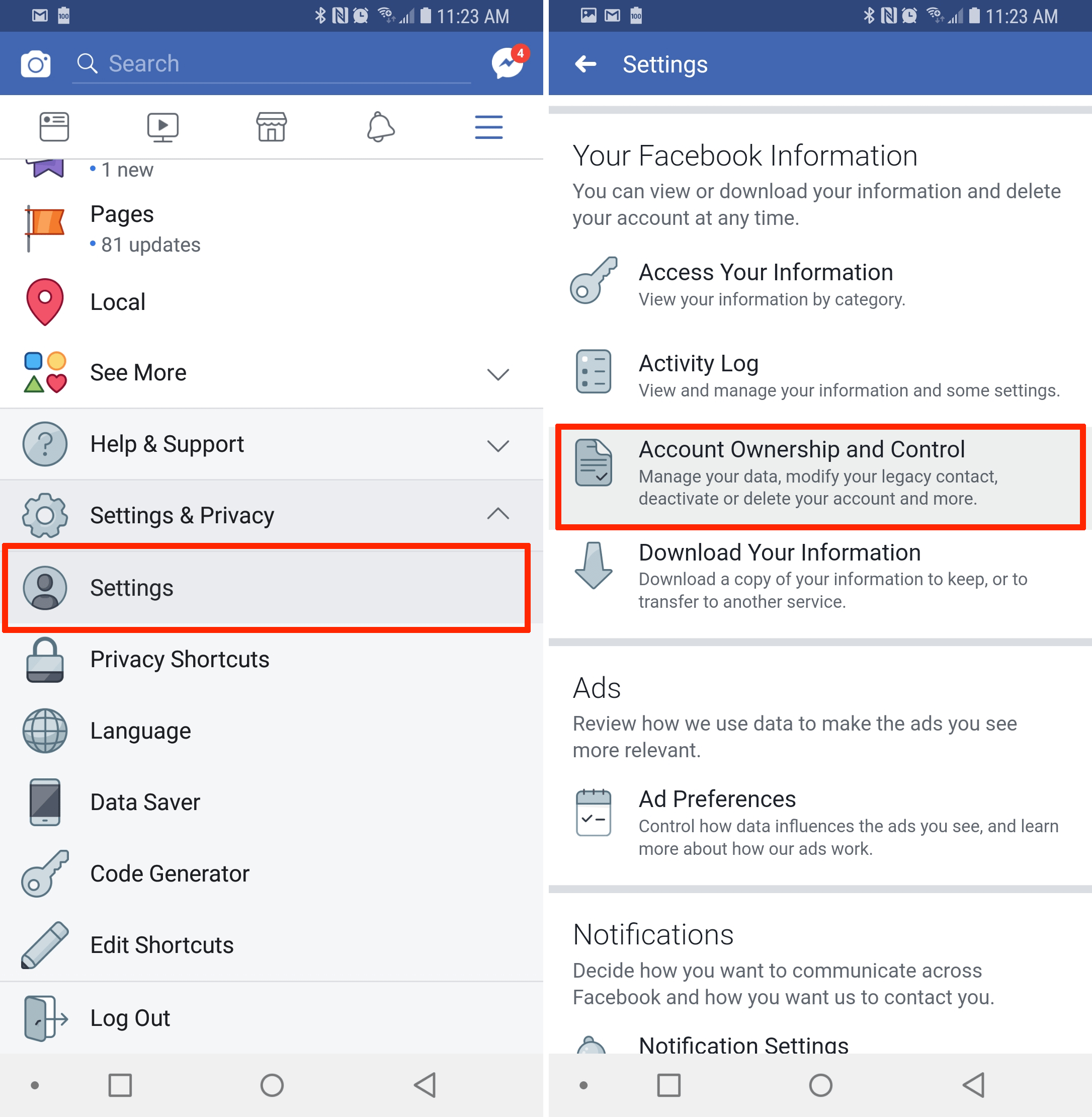 How to deactivate the account of facebook