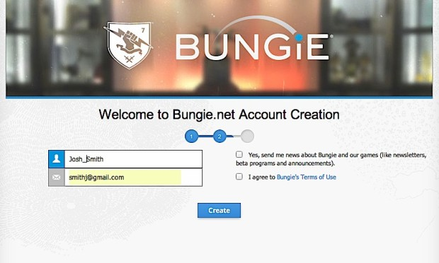 Create your Bungie account where you'll find the PS4 Destiny beta download codes.