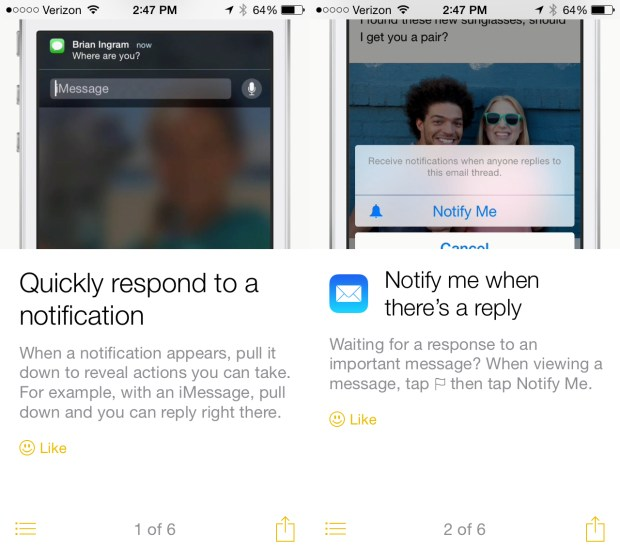 The iOS 8 Tips app showcases new iOS 8 features.