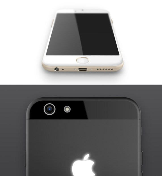 Glowing Apple logo on the back of this iPhone 6 concept.