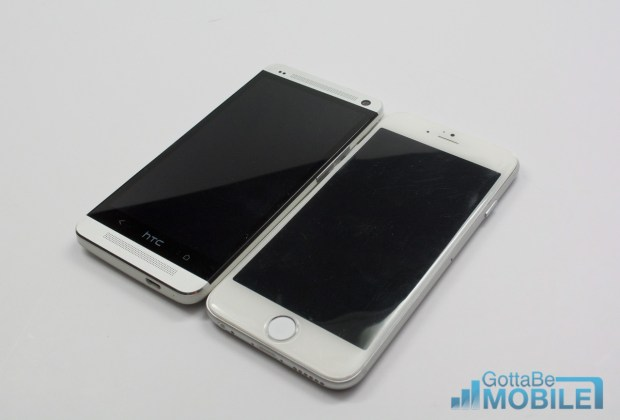 The iPhone 6 and HTC One are almost the same size.