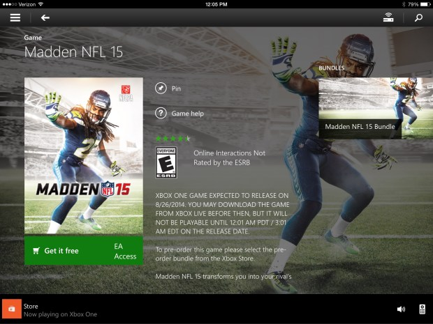 You can start a remote download or the Madden 15 trial on EA Access.
