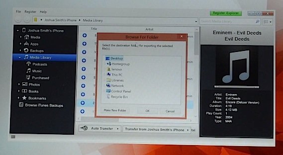 Choose where to save the songs you transfer from iPhone to PC.