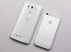 The G3's plastic back feels better than plastic, but it's not the iPhone 5s' aluminum back.
