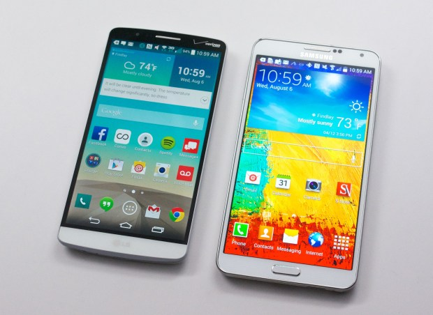 The LG G3 vs Galaxy Note 3 comparison shows slimmer bezels on the G3.