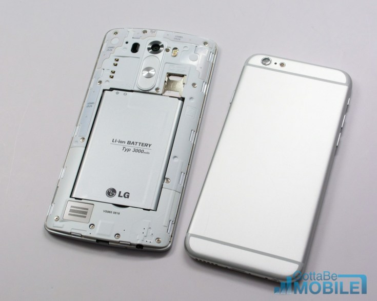 LG G3 vs iPhone 6 - Design - Battery & Storage