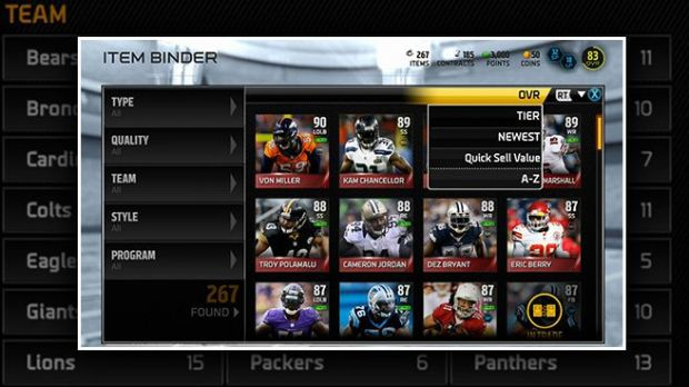 Madden 15 Ultimate Team mode is much better.