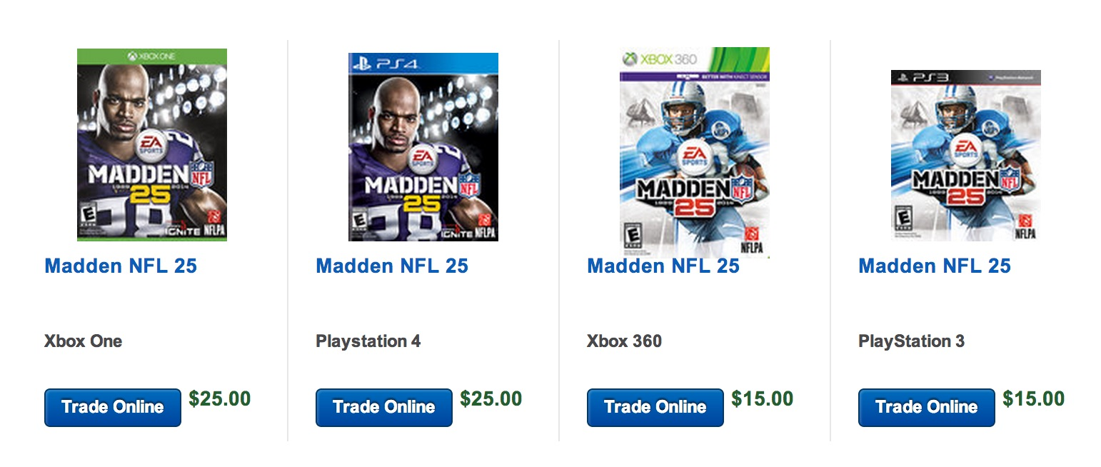 madden 15 deal cuts price to 15 with madden 25 trade in. Black Bedroom Furniture Sets. Home Design Ideas