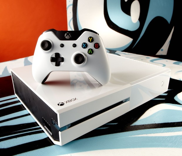The Limited Edition White Sunset Overdrive Xbox One console.