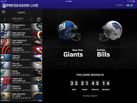Watch NFL Preseason live on the iPad or a computer with a $19.99 subscription.