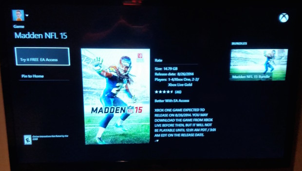 If you are near your Xbox One you can find Madden 15 by search or in EA Access.