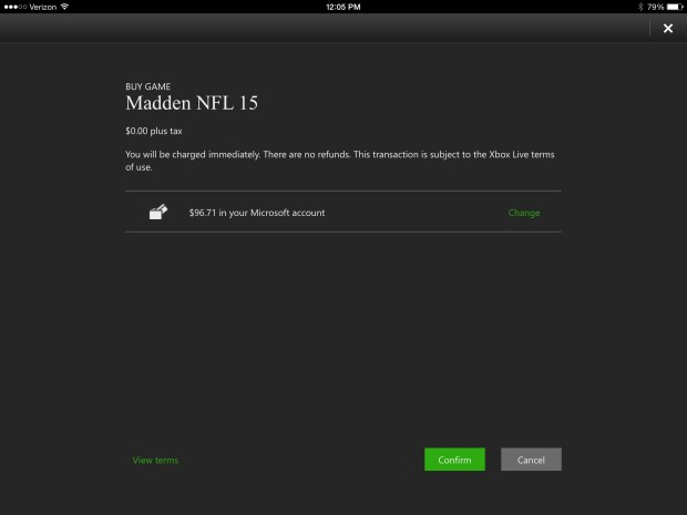 Confirm you want to remote download Madden 15.