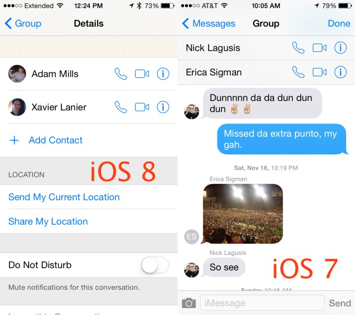 iOS 8 vs iOS 7 Group Messages