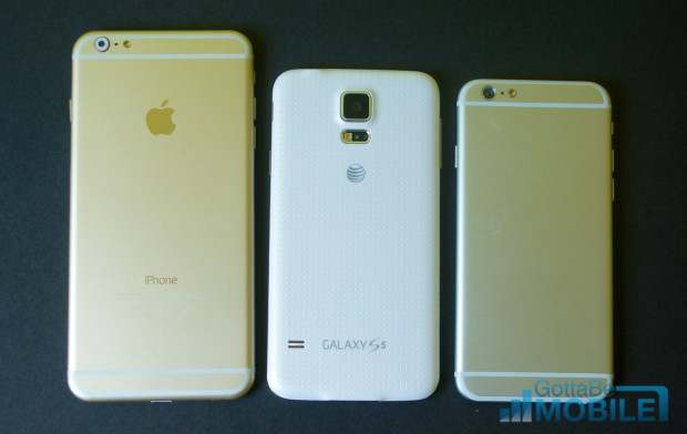 The 5.5-inch iPhone 6 is larger than the Galaxy S5, but the 4.7-inch iPhone is still smaller.