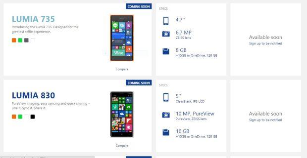 Lumia 830 Lumia 630