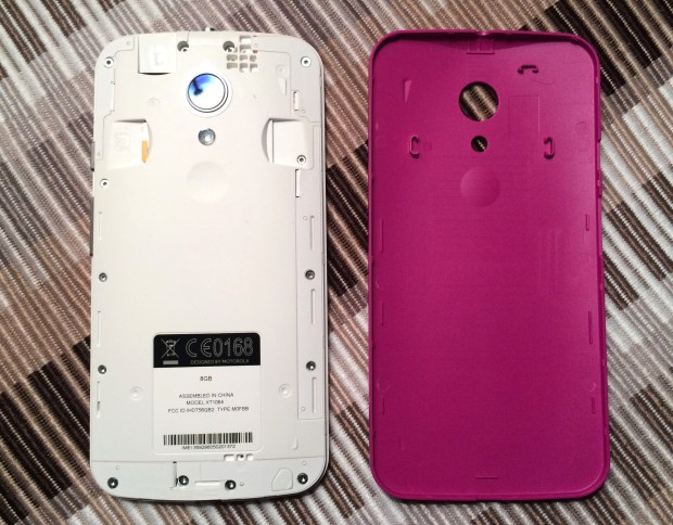 Remove the back for access to a Micro SD card slot and to add color to the new Moto G.