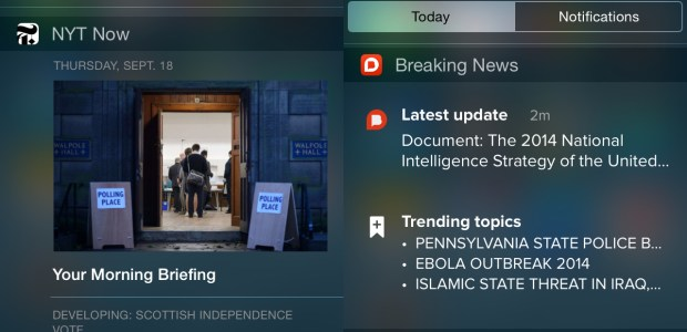 News iOS 8 widgets offer detailed and breaking news options.