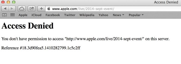 The Apple live stream is down for some people.