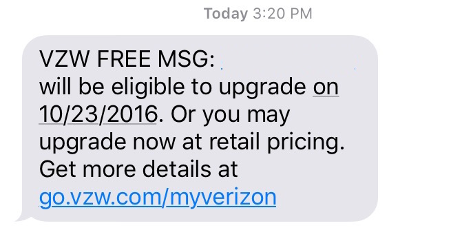Check Verizon iPhone upgrade status.