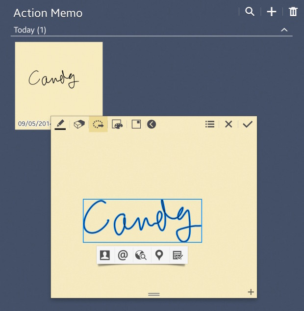 create action memos from lock screen