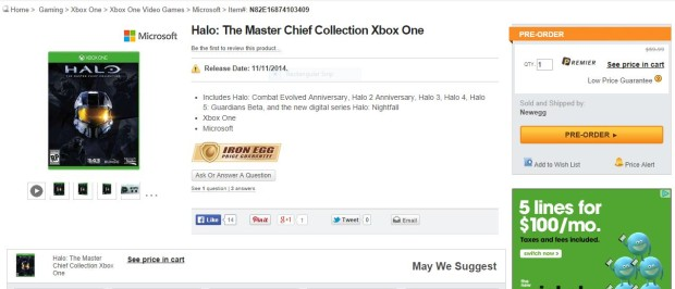 halo master chief collection new egg deal