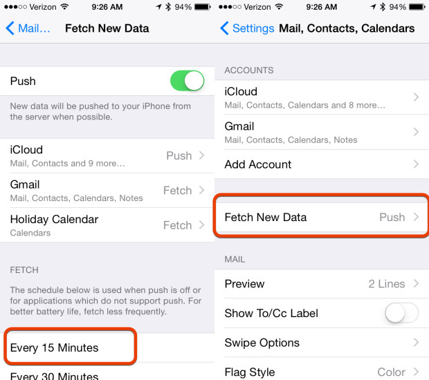 Stop using Push email for better iOS 8 battery life.