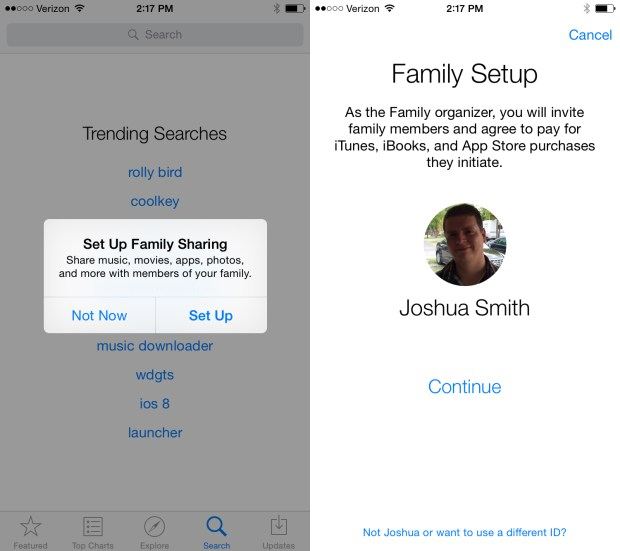 Setup iOS 8 Family Sharing from Settings.