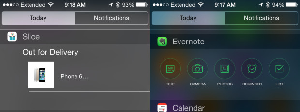 Use iOS 8 widgets to track packages and take notes.