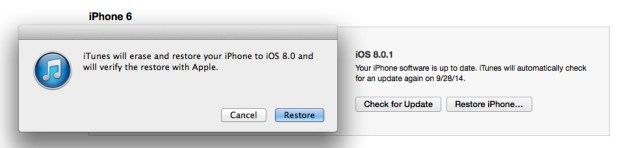 Restore to complete the iOS 8.0.1 to iOS 8 downgrade.