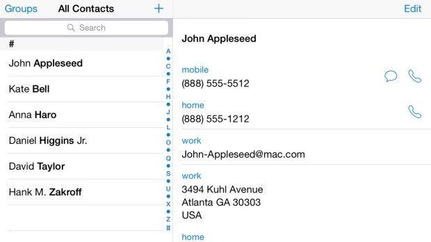 Contacts on a 5.5-inch iPhone 6 running iOS 8.